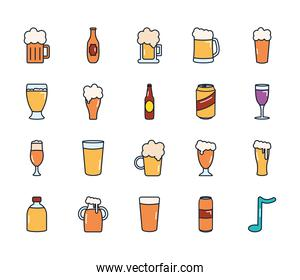 beer bottles and beer glasses icon set, line fill style