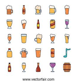 beer glasses and bottles icon set, line fill style