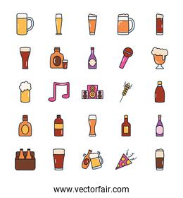 beer bottles and liquor bottles icon set, line fill style