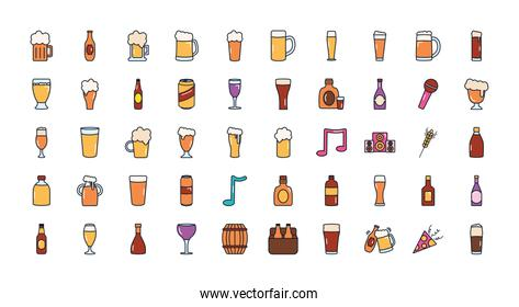 beer glasses icon set, line fill style
