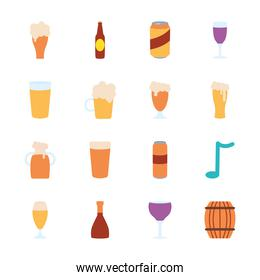 wooden barrel and beer glasses icon set, flat style