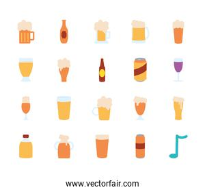 beer bottles and beer glasses icon set, flat style