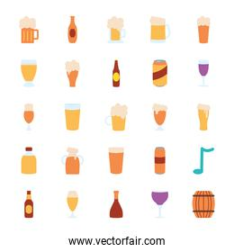 beer glasses and bottles icon set, flat style