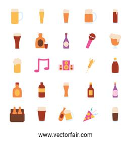 beer bottles and liquor bottles icon set, flat style