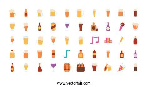 beer glasses icon set, flat style