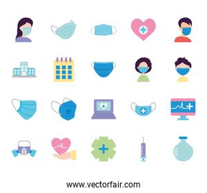 hospital building and medical icon set, flat style