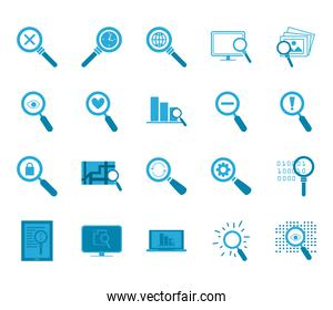 searching lupes flat style icon set vector design