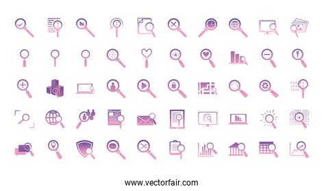 searching lupes gradient style icon set vector design