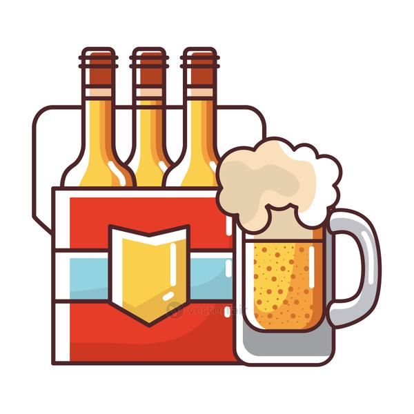 Beer bottles box and glass vector design