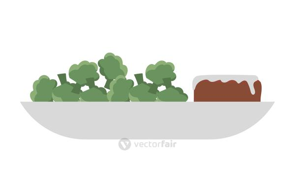 broccoli and meat on plate vector design
