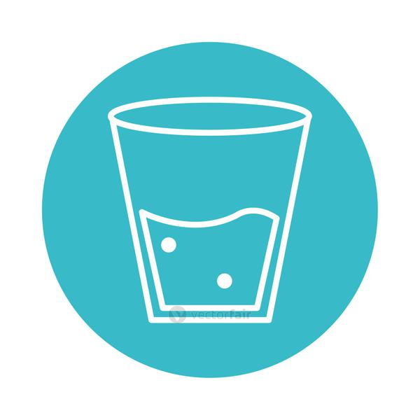 glass with water mineral liquid blue block style icon