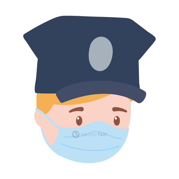 policeman face with medical mask, work essential during covid 19, character worker isolated design icon