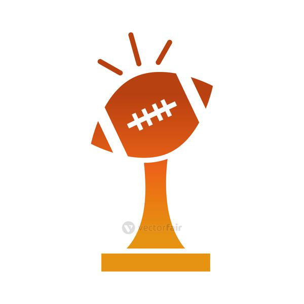american football trophy ball award game sport professional and recreational gradient design icon