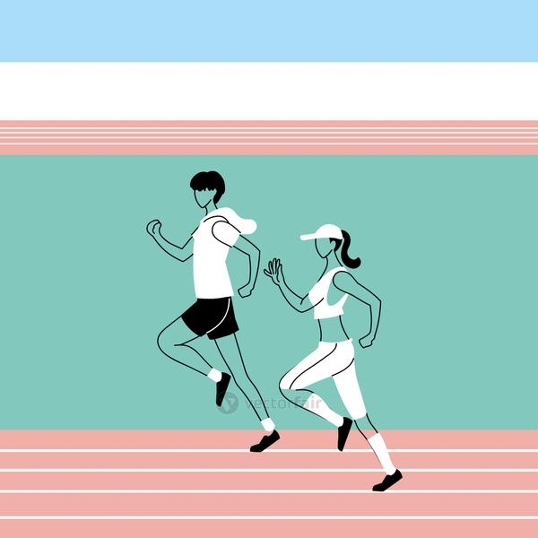 Man and woman avatar running vector design