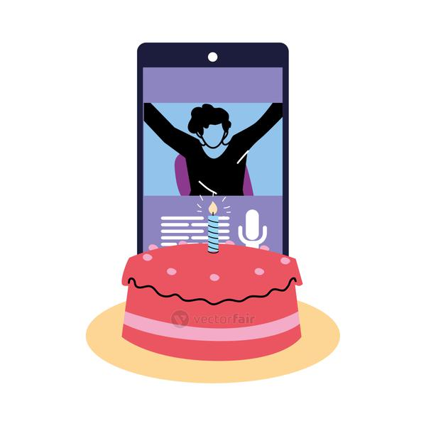 man on smartphone with cake vector design