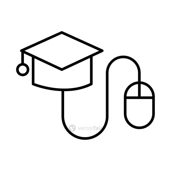 hat graduation with mouse line style icon