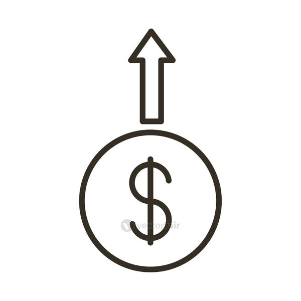 coin dollar with arrow up line style icon