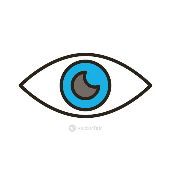 eye human organ line and fill style icon