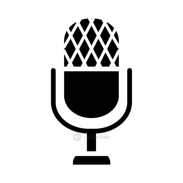 classic microphone icon, silhouette style