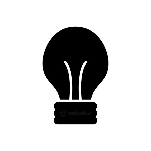 classic light bulb icon, silhouette style