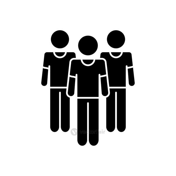 pictogram men standing, silhouette style