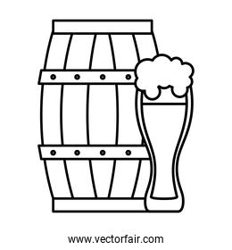 Beer barrel and glass vector design