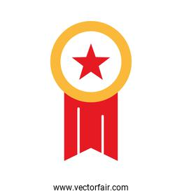 medal with star flat style icon vector design