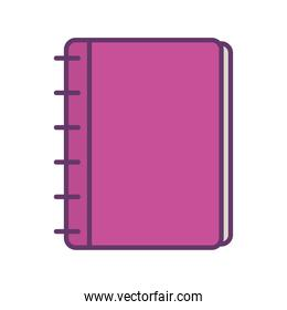 school notebook line and fill style icon vector design