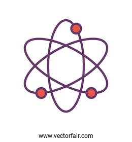 Atom line and fill style icon vector design