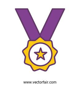 medal line and fill style icon vector design