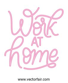work at home text vector design