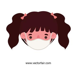 girl head with medical mask vector design
