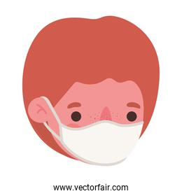 boy head with medical mask vector design