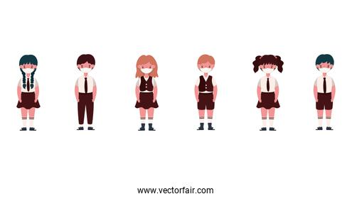Boys and girls kids with uniforms and medical masks vector design
