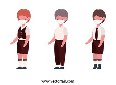 Boys kids with uniforms and medical masks vector design