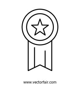 medal with star line style icon vector design