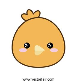 Cute chicken cartoon line and fill style icon vector design