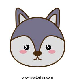 Cute wolf cartoon line and fill style icon vector design