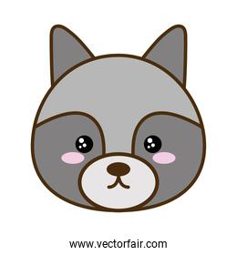 Cute raccoon cartoon line and fill style icon vector design