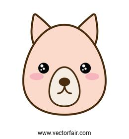 Cute kangaroo cartoon line and fill style icon vector design