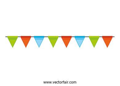 party carnival garland hanging decoration on white background