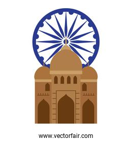 india mosque, famous monument with blue ashoka wheel indian