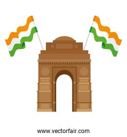 india gate, famous monument with flags of india