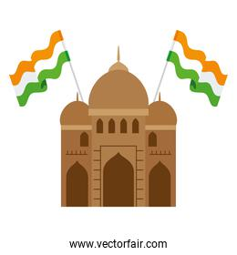 india mosque, famous monument of india with flags india