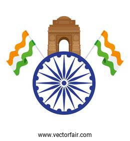india gate, famous monument with blue ashoka wheel and indian flags