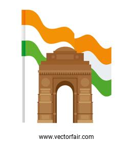 india gate, famous monument with flag