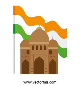 india mosque, famous monument of india with flag india