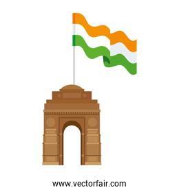 india gate, famous monument with flag of india