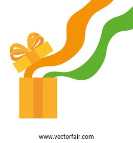 coming out flag india of gift box on white background