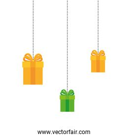 gift boxes hanging of green and yellow colors on white background